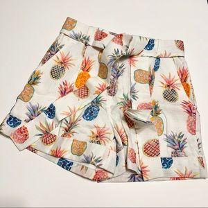Bnew J Crew Factory Pineapple print linen shorts